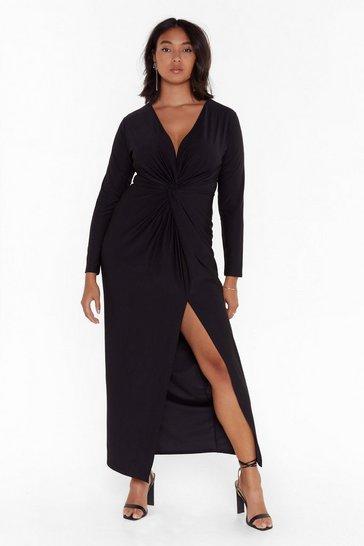 Black Don't Twist the Truth Plus Maxi Dress