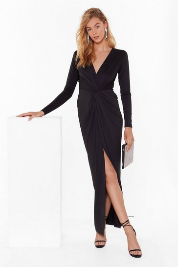Womens Black Don't Twist the Truth Plunging Maxi Dress