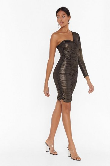 Womens Silver Two's a Crowd One Shoulder Mini Dress
