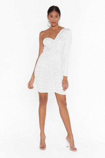 Womens White  metallic ruched one shoulder mini dress