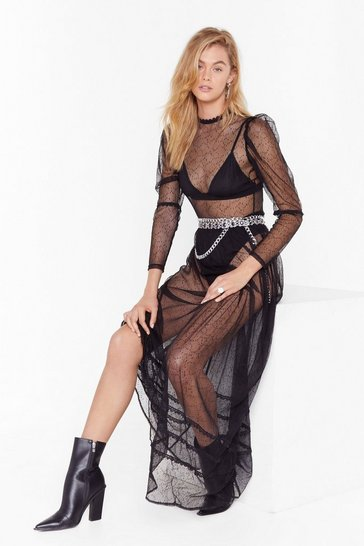 Womens Black Mesh is Yet to Come Lace Maxi Dress