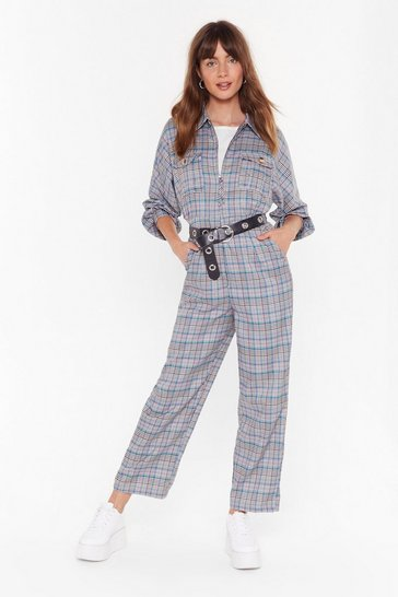 Womens Brown Mic Check Oversized Boilersuit