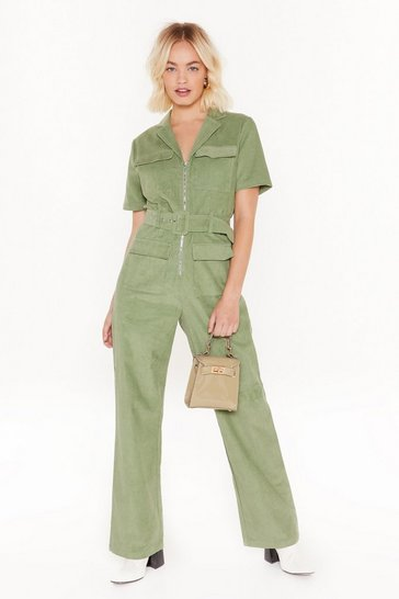 Womens Sage cord short sleeve boilersuit