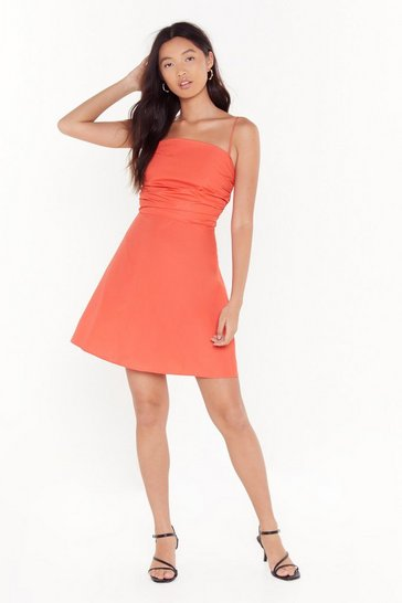 Coral Strappy Never After Gathered Mini Dress