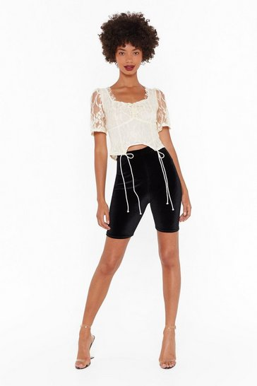 Womens Black Everytime We Touch Velvet Biker Shorts