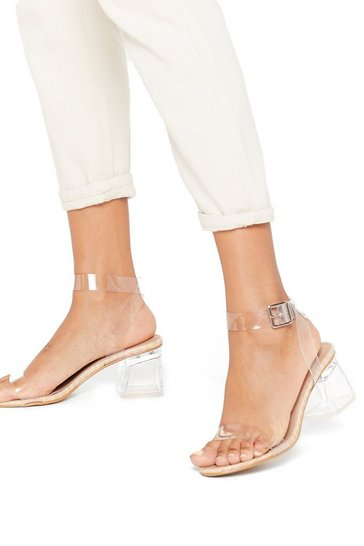 Womens Nude Hit Croc Bottom Clear Low Block Heels
