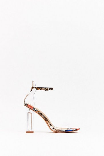 Blue Let's Snake Things Bright Lucite Heels