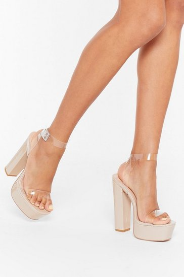 Womens Nude Time to Clear the Air Faux Leather Platform Heels
