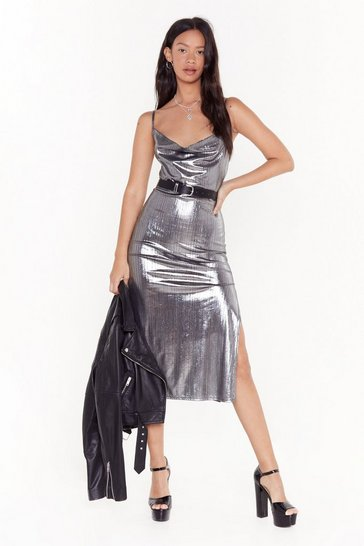 Womens Silver Sheen There Done That Cowl Neck Midi Dress