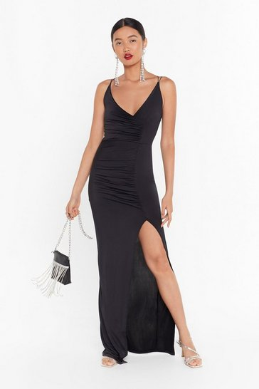 Womens Black If Slit Ain't Broke Slinky Maxi Dress