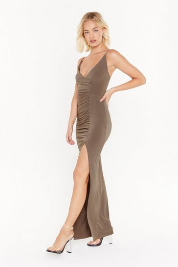 Womens Olive If Slit Ain't Broke Slinky Maxi Dress