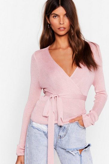 Pink Wrap Out of It Knitted Cardigan