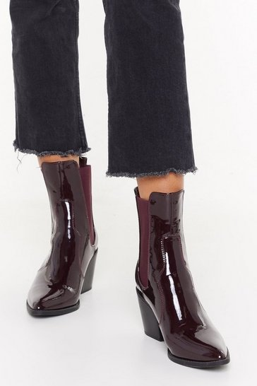 Womens Burgundy Go Western Patent Faux Leather Boots