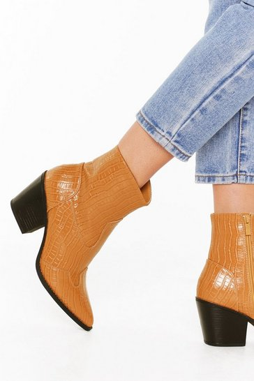Camel Can't Croc Me Now Faux Leather Pointed Boots