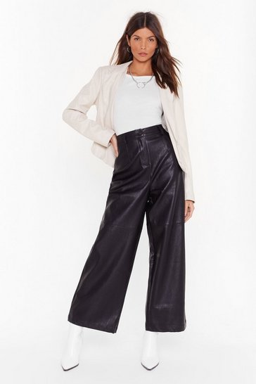 Womens Black Loving You Faux Leather Wide-Leg Pants