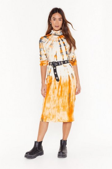 Womens Orange Lost in the Flow Tie Dye Knitted Midi Dress