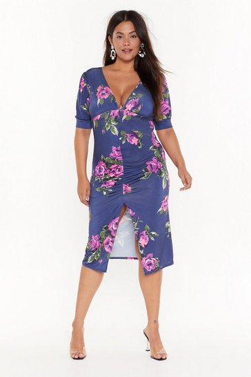 Womens Black Make the Best of a Bud Situation Plus Floral Dress