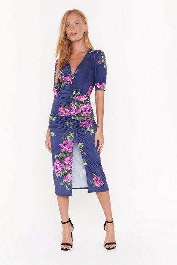 Black Make the Best of a Bud Situation Floral Midi Dress