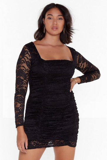 Black Set the Lace Plus Mini Dress