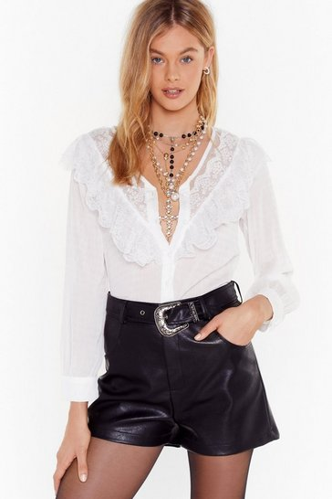 White Lace Blouse with V-Neckline