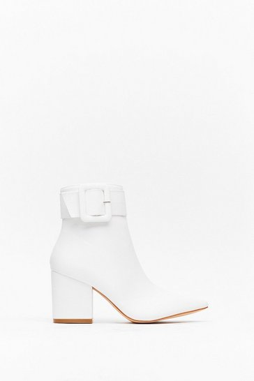 Womens White Buckle It Up Faux Leather Pointed Boot