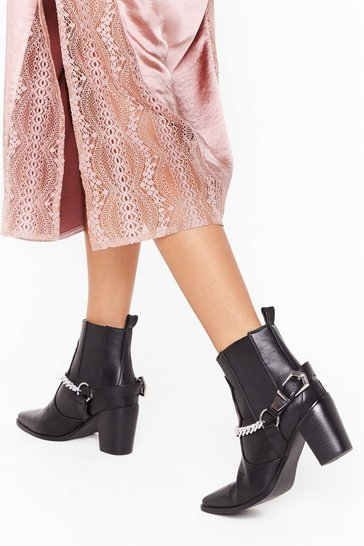 Black Chained to the Beat Faux Leather Heeled Boots