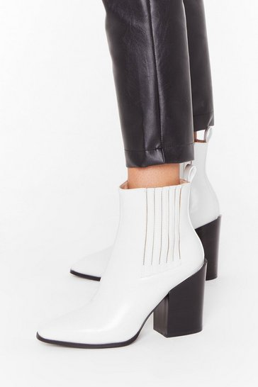 Womens White Follow Me Faux Leather Chelsea Boots
