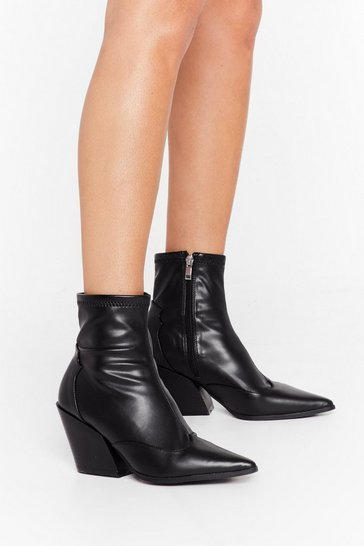 Black You've Missed the Point Faux Leather Western Boots