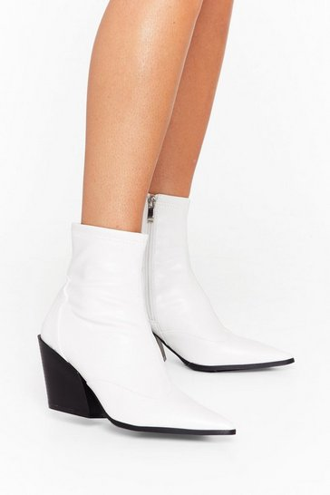 White You've Missed the Point Faux Leather Western Boots