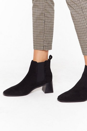 Womens Black Faux Suede Low Flare Heel Chelsea Boot