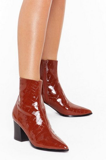 Tan You Can't Croc Me Patent Faux Leather Boots
