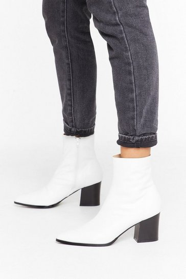 White Get 'Em While They're Sock Faux Leather Boots