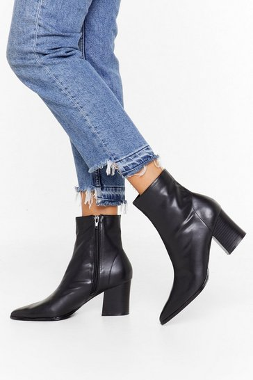 Womens Black Get 'Em While They're Sock Faux Leather Boots