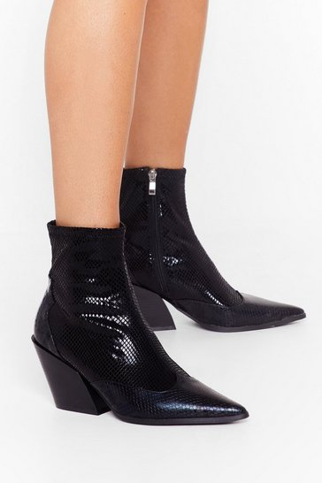 Womens Black You've Missed the Point Faux Leather Snake Boots