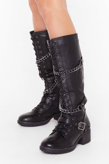 Womens Black PU Knee High Chain Detail Block Heel Boots