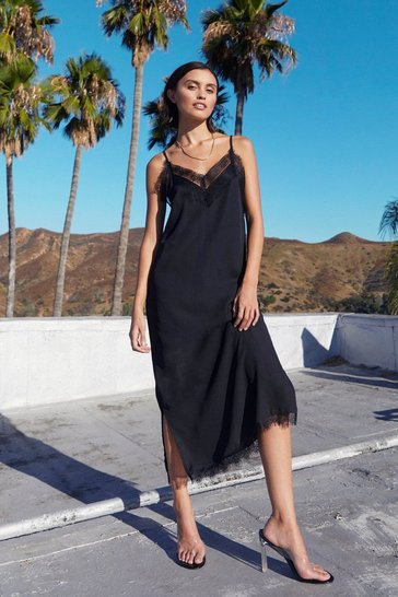 Womens Black Lace Give 'Em the Slip Satin Midi Dress