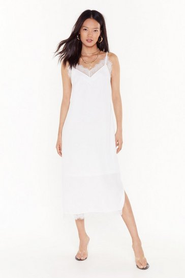 Womens White Lace Give 'Em the Slip Satin Midi Dress