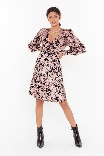 Womens Pink No Growing Back Floral Velvet Midi Dress