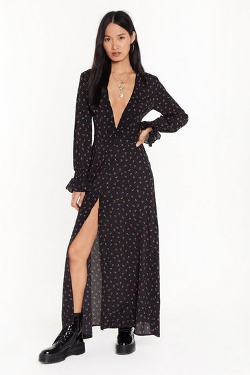 Womens Black Grow Me Love Floral Maxi Dress