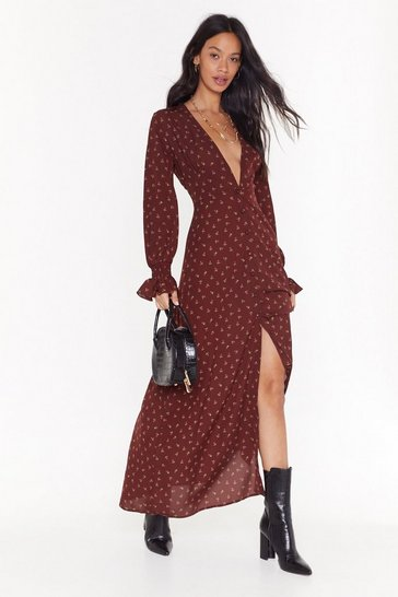 Womens Burgundy Grow Me Love Floral Maxi Dress