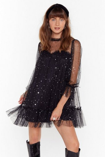 Black Star and Wide Mesh Mini Dress