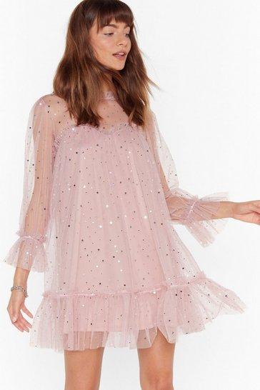 Pink Star and Wide Mesh Mini Dress
