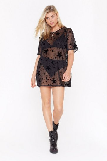 Womens Black  plus burnout star mesh ovesized tee dress