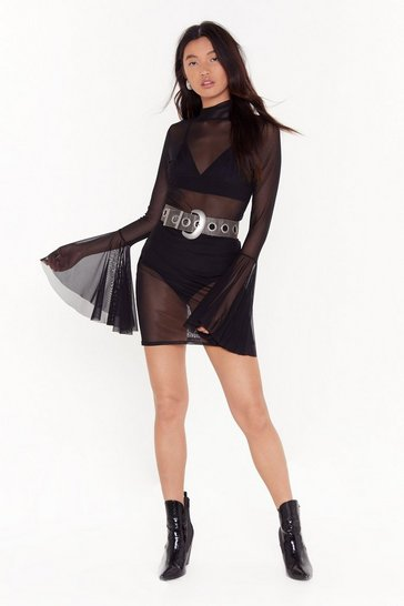 Womens Black Don't Mesh With Me Flare Sleeve Mini Dress