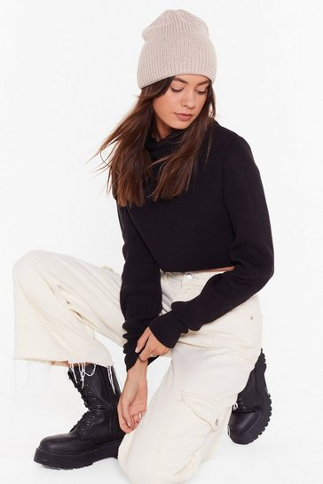Black Knit the End of the World Turtleneck Cropped Sweater