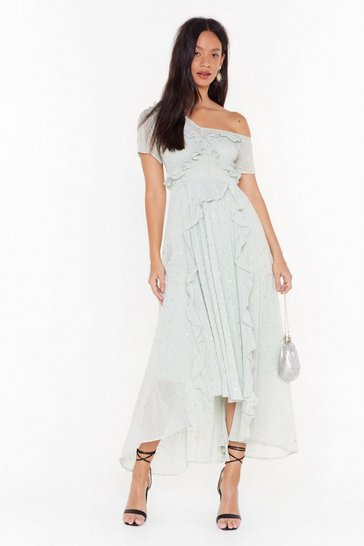 Womens Sage She's a Movie Star One Shoulder Maxi Dress