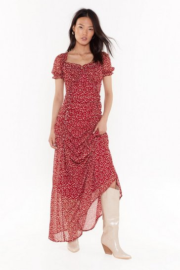 Burgundy In Flower Own World Floral Maxi Dress