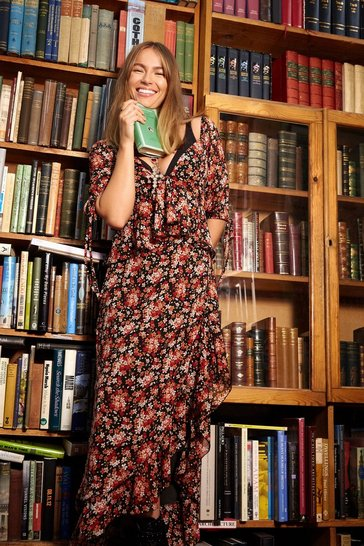 Womens Black Rooting for You Floral Sweetheart Maxi Dress