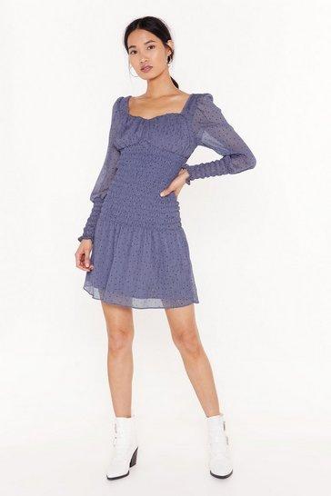 Blue metallic spot shirring detail mini dress