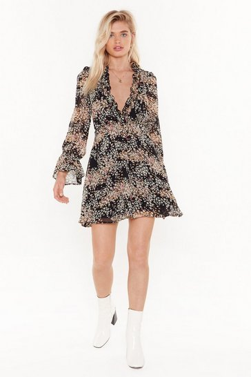 Womens Black pretty floral frill detail mini tea dress